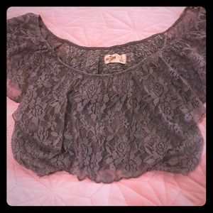 Cute grey lace Hollister crop top